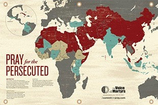 Pray for the Persecuted Map from Voice of the Martyr